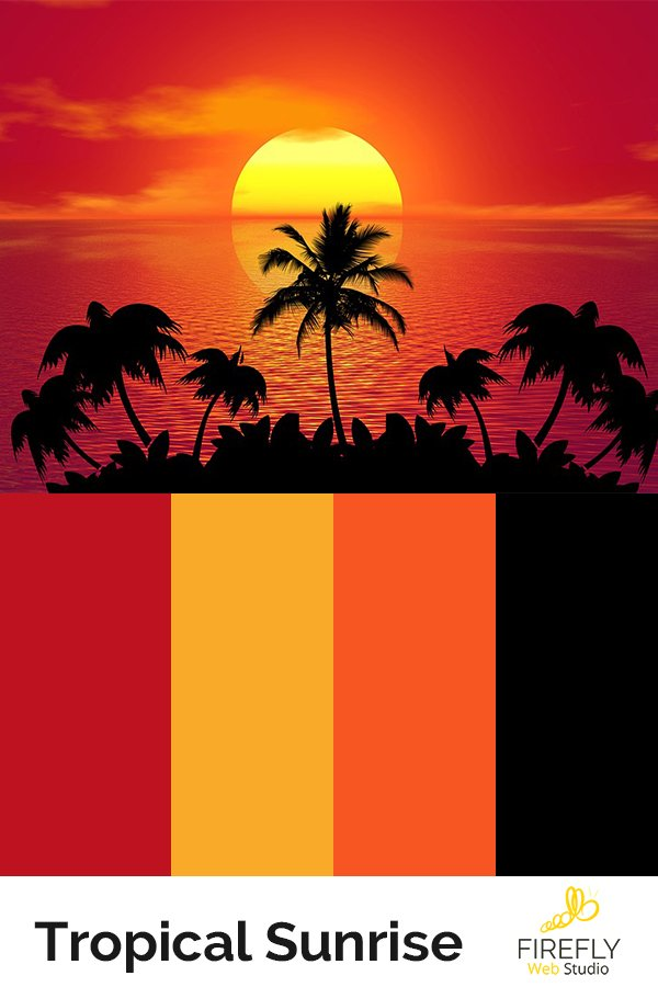 tropical sunrise color scheme for new website