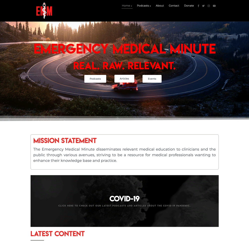 Emergency Medical Minute | Custom Podcast Website