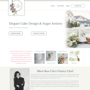 Rue Cler Seattle - Custom Wedding Cake Designer Website