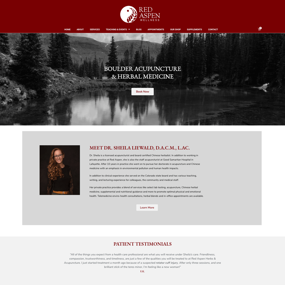 Red Aspen Wellness | Custom Acupuncture Website