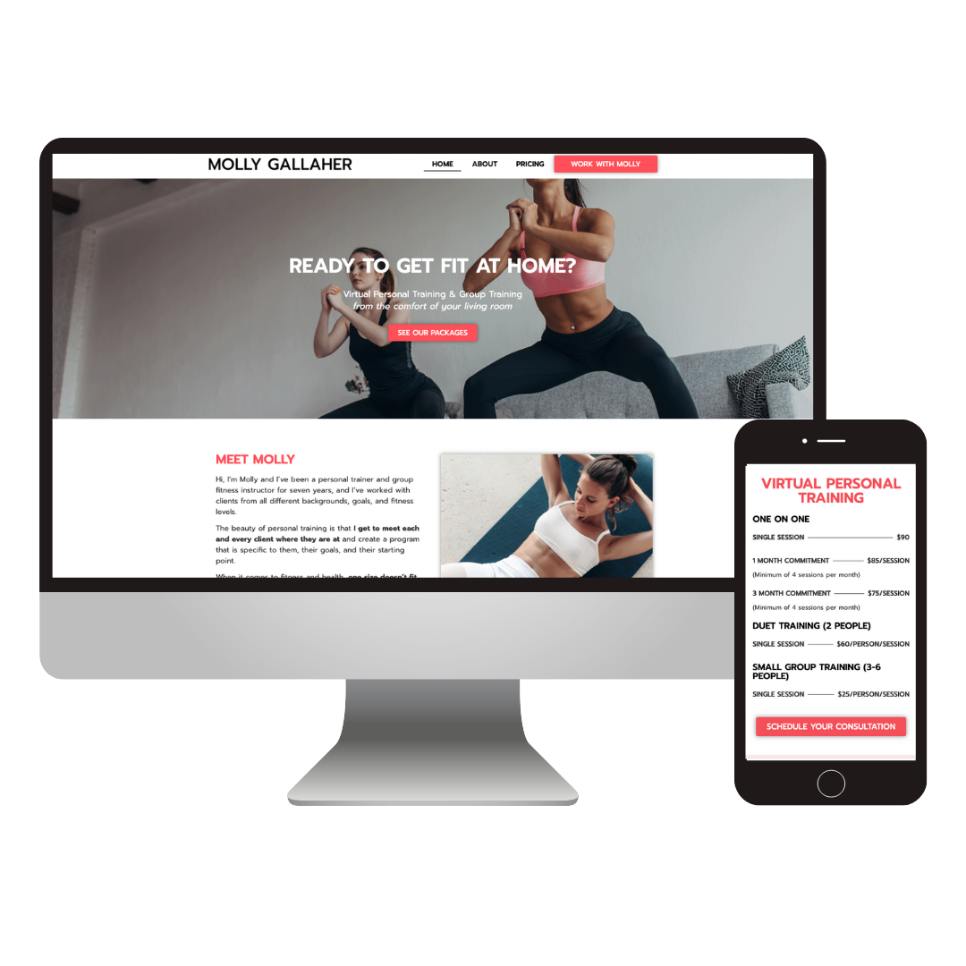 Molly Gallaher Training | Personal Trainer Website Design
