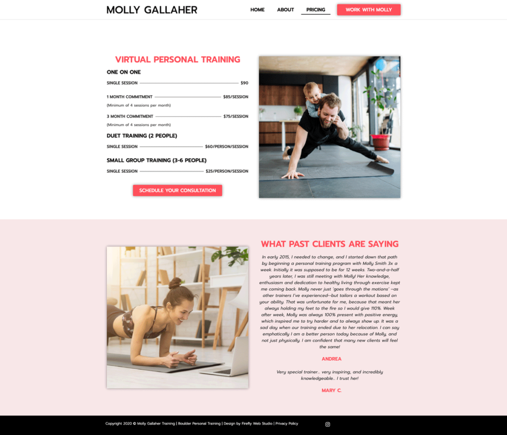 Pricing and packages for personal training website