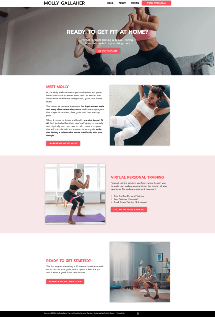 personal trainer website design - homepage