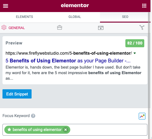 build in seo for elementor