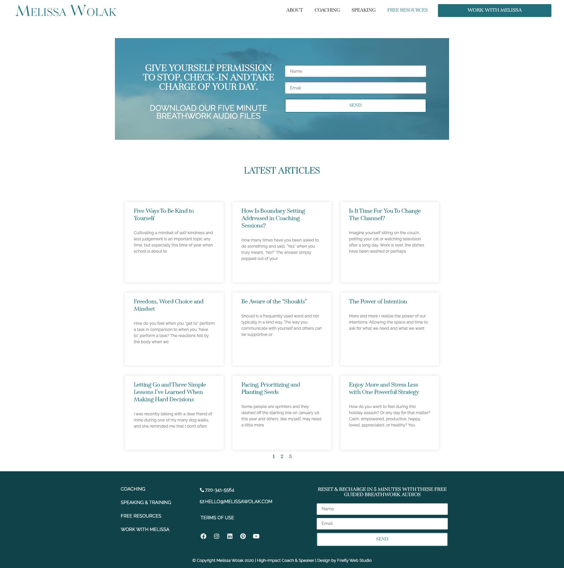 custom blog for mindset coaching website