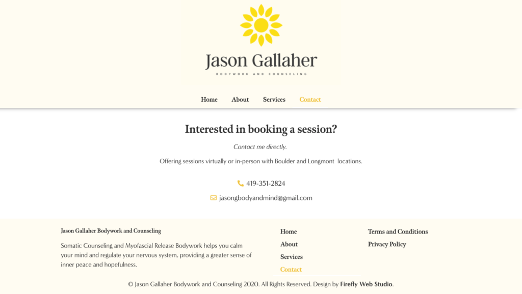 Contact page for custom counseling site
