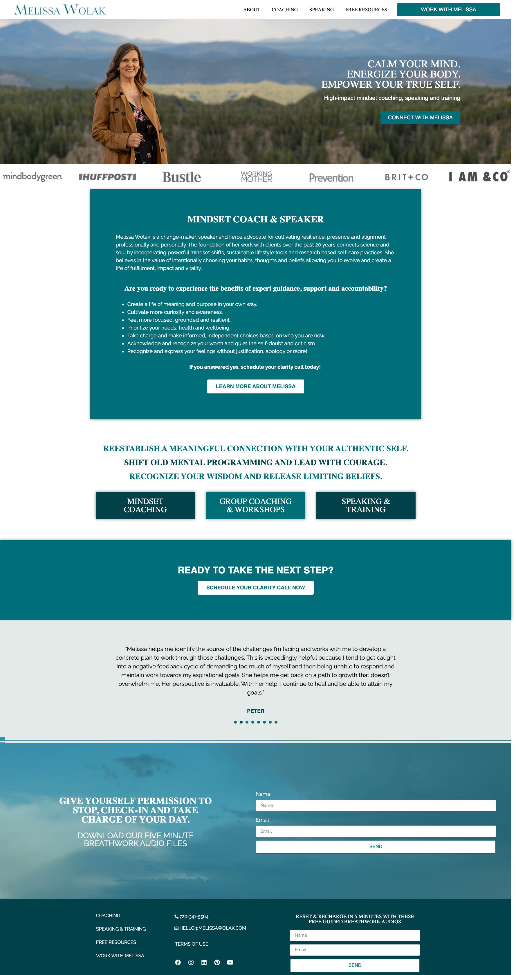 Melissa Wolak - Mindset Coaching Website