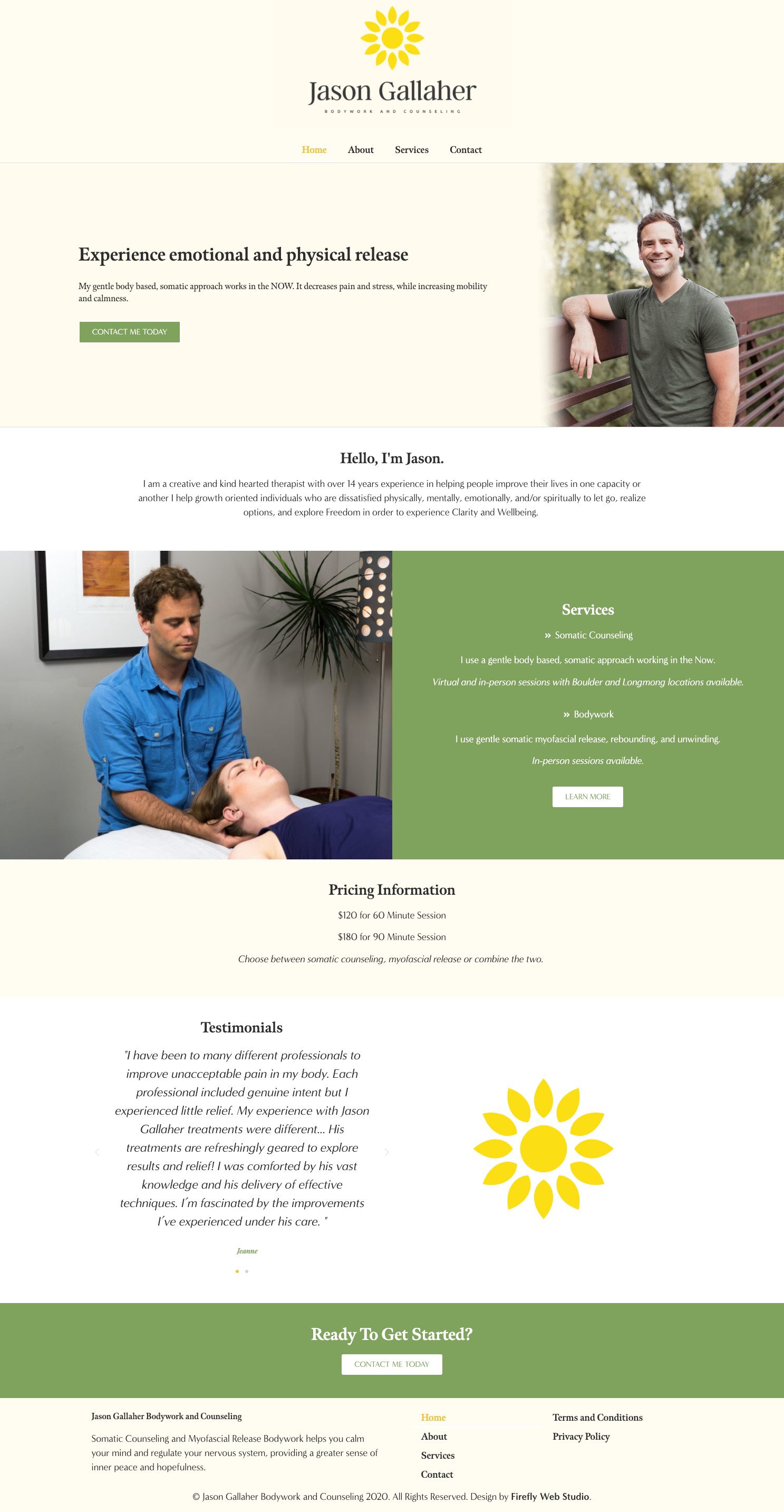 Bodywork and Counseling Website homepage