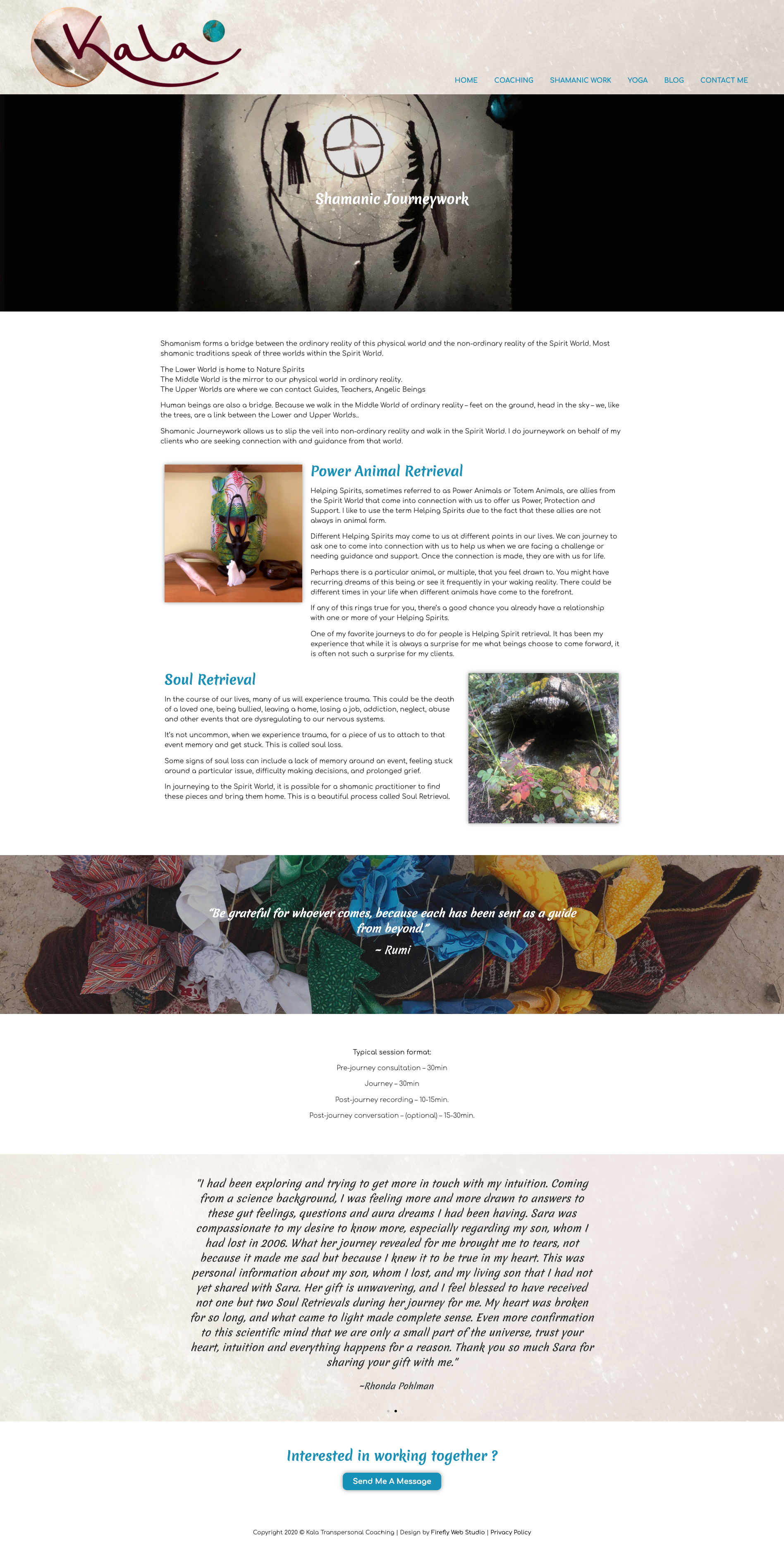 shamanic work page for kala transpersonal coaching
